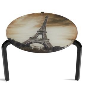 Tavolino Rotondo Stampato Parigi 50xh33 cm in metacrilato 100% riciclabile