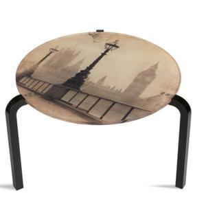 Tavolino Rotondo Stampato Londra 50xh33 cm in metacrilato 100% riciclabile