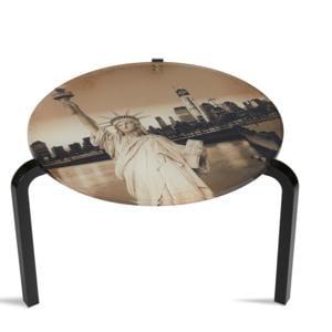 Tavolino Rotondo Stampato New York 50xh33 cm in metacrilato 100% riciclabile