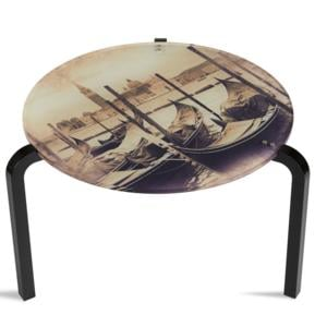 Tavolino Rotondo Stampato Venezia 50xh33 cm in metacrilato 100% riciclabile