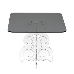 Tavolino quadrato basso 50x50xh41 cm in metacrilato 100% riciclabile piano grigio fumè