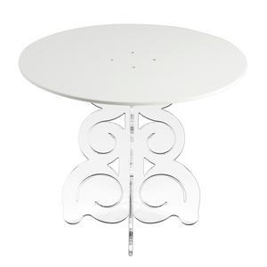 Tavolino rotondo basso 50x50xh45 cm in metacrilato 100% riciclabile piano Bianco
