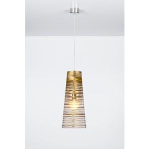 Sospensione con paralume conico PIXI Ø25xh60 cm in policarbonato trasparente Oro