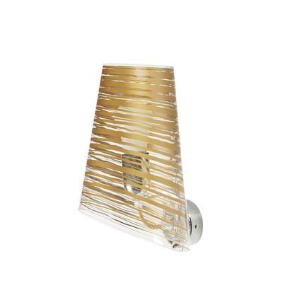 Applique da muro in policarbonato PIXI 18x19xh30 cm con paralume conico oro