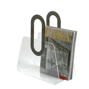 Portariviste in metacrilato trasparente BAG 33x15xh37 cm manici in policarbonato nero