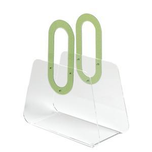 Portariviste in metacrilato trasparente BAG 33x15xh37 cm manici in policarbonato verde