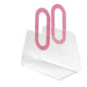 Portariviste in metacrilato trasparente BAG 33x15xh37 cm manici in policarbonato fucsia
