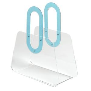 Portariviste in metacrilato trasparente BAG 33x15xh37 cm manici in policarbonato blu