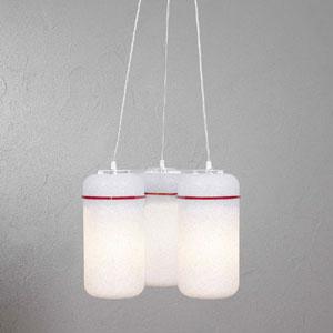 Lampadario 3 lampade BLOOM 39x39x34cm particolari in Rosso Trasparente