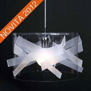 Lampadario a sospensione diametro 50xh25 cm Bibang colorato paralume cilindrico in policarbonato trasparente Bianco Satinato