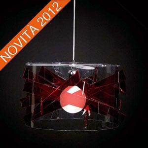 Lampadario a sospensione diametro 50xh25 cm Bibang colorato paralume cilindrico in policarbonato trasparente Rosso Trasparente
