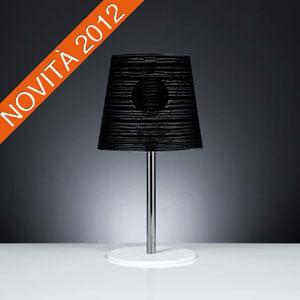 Lampada da tavolo diametro 30xh56 cm con paralume in policarbonato PIXI Nero