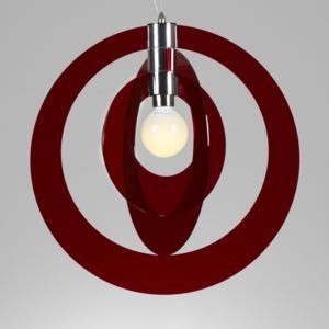 Lampadario a sospensione GALILEA Small Ø54xh56 cm composto da 3 anelli orientabili in metacrilato Rosso