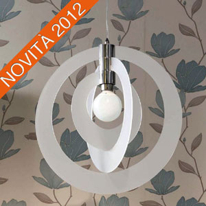 Lampadario a sospensione GALILEA Small Ø54xh56 cm composto da 3 anelli orientabili in metacrilato Bianco Satinato