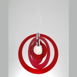 Lampadario a sospensione GALILEA Big Ø66xh68 cm composto da 4 anelli orientabili in metacrilato Rosso