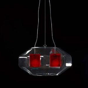 Lampadario a sospensione ADAMAS diametro 80 rosso