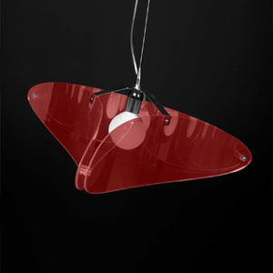 Lampadario da soffitto a sospensione Bellatrix Rosso Trasparente