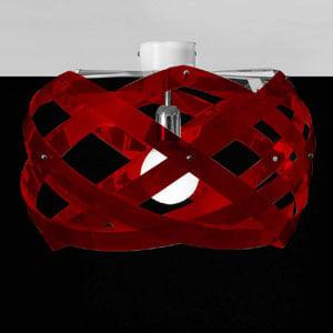 Lampada da soffitto Nuclea piccolo diametro 40 Rosso Trasparente