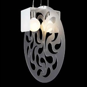 Lampadario a sospensione paralume in opal diametro 60 Gong bianco satinato