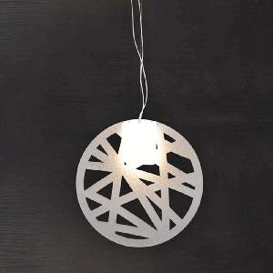 Lampadario a sospensione paralume in opal diametro 60 Gong geometrico