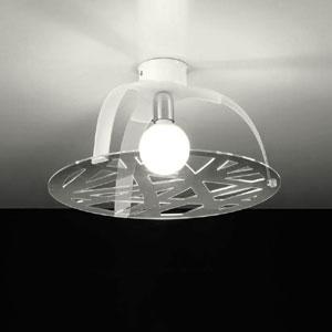 Plafoniera Morgana diametro 48xh26 cm in metacrilato sagoma circolare decoro geometrico 1xE27 Max 25W