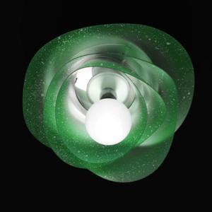 Plafoniera Applique paralume diametro 55xh23 cm a corolla in policarbonato antiriflesso Grande Rosa Verde