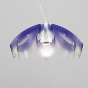 Lampadario a sospensione diametro 55xh28 cm con paralume in petali di policarbonato antiriflesso Flo Viola
