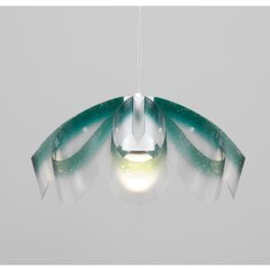 Lampadario a sospensione diametro 55xh28 cm con paralume in petali di policarbonato antiriflesso Flo Verde