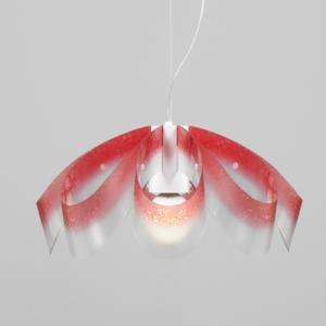 Lampadario a sospensione diametro 55xh28 cm con paralume in petali di policarbonato antiriflesso Flo Rosso Trasparente