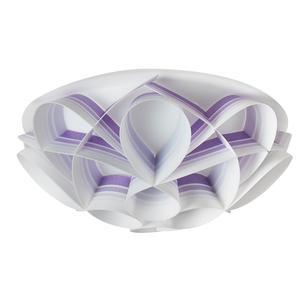 Plafoniera 3 luci con calotta GEMMA Ø51xh20 cm bianco perla decori viola
