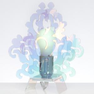 Lampada Da Tavolo AMARILLI 22x10xh28 cm supporto metallo paralume metacrilato flash 1xE27 max 30W
