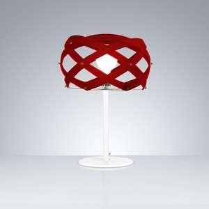Lampada da Tavolo diametro 40xh58 cm con paralume in metacrilato Nuclea Rosso Trasparente