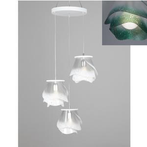lampada a sospensione a tre lampade ROSA PENDEL 3 - 18xh23cm con borchia applicabile a soffitto colore verde