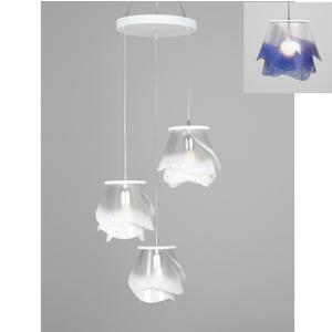 lampada a sospensione a tre lampade ROSA PENDEL 3 - 18xh23cm con borchia applicabile a soffitto colore viola