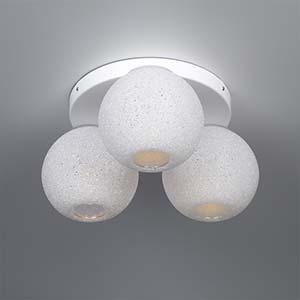 Plafoniera da soffitto diametro 42xh21 cm con 3 sfere fisse in policarbonato Scintilla 3xE27 max 30W