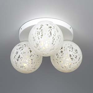 Plafoniera rotonda a 3 sfere diametro 42xh21 cm Reload in materiale plastico termofuso lampadine 3xE27 max 30W