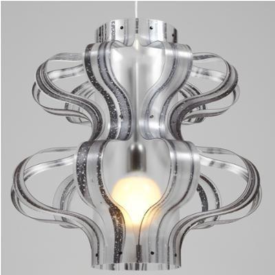 Lampada a sospensione diametro 53xh52 cm Venezia con paralume in policarbonato Nero