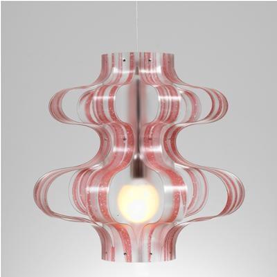 Lampada a sospensione diametro 53xh52 cm Venezia con paralume in policarbonato Rosso