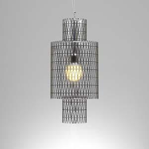 Lampadario a sospensione diametro 33xh65 cm Punto luce Nippon con Paralume in policarbonato antiriflesso Nero