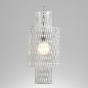Lampadario a sospensione diametro 33xh65 cm Punto luce Nippon con Paralume in policarbonato antiriflesso Bianco