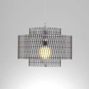 Lampadario a sospensione diametro 50xh36 cm Punto luce Trocadero con Paralume in policarbonato antiriflesso Nero