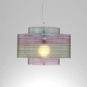 Lampadario a sospensione diametro 50xh36 cm Punto luce Trocadero con Paralume in policarbonato antiriflesso Multicolor