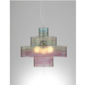 Lampadario a sospensione diametro 70xh60 cm Babilonia con Paralume in policarbonato antiriflesso multicolor