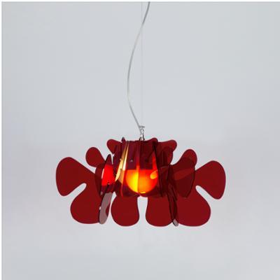 Lampada a Sospensione 55x55h32 cm Aralia in metacrilato Versione Piccola Peso 2.4 kg 30W Rosso Trasparente