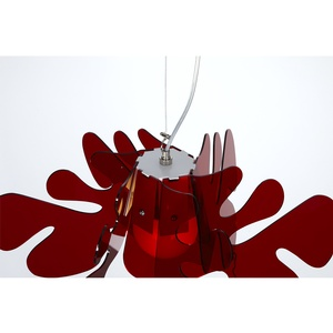 Lampada a Sospensione 73x73h40 cm Aralia in metacrilato Versione Big Peso 2.9 kg 30W Rosso Trasparente