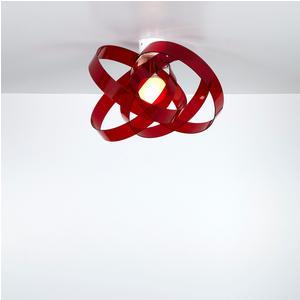 Plafoniera in metacrilato NUVOLA Ø 56xh36 cm colore Rosso trasparente