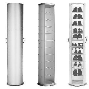 scarpiera pop girevole bianca 40x40xh173 cm in polipropilene 20 paia  emporium portata max 4 kg per ripiano