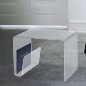 Tavolino Porta TV 40x40xh51 cm COMMA struttura in metacrilato trasparente
