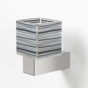 Applique da muro con Paralume DECODADO con supporto in acciaio satinato paralume Righe Nere