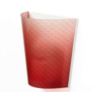 Applique da muro BOEMIA 32x20xh30 cm con paralume in policarbonato serigrafato Rosso Trasparente